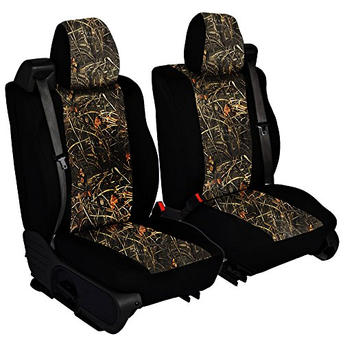 CarsCover Custom Fit 2004-2008 Ford F150 Pickup Truck Wetsuit Neoprene Car Front Seat Covers Camo and Black Sides Driver & Passenger Cover Real Maple Forest Tree Leaf Camouflage Covers