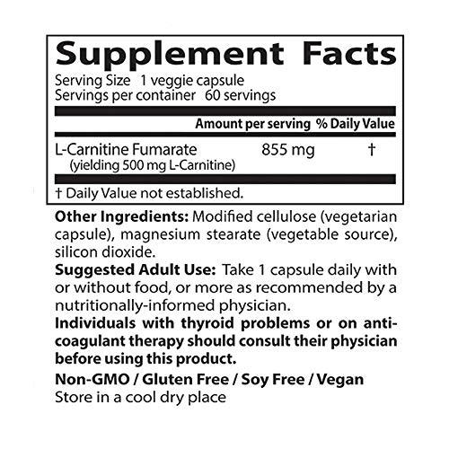Doctor's Best L-Carnitine Fumarate, Non-GMO, Vegan, Gluten Free, Heart Health, 855 mg, 60 Count Veggie Caps