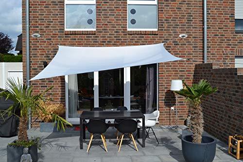 Floracord 06-77-07-37 Vierecksonnensegel mit Regenschutz 2,5 x 3 m inklusive Zubehör mit dauerelastischen Spanngurten, silbergrau