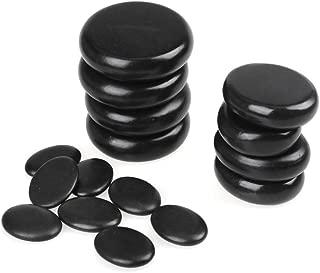 Romonacr 16Pcs Professional Massage Hot Stone Set Natural Lava Heated Stones Basalt Warmer Rock for Spa, Massage Therapy