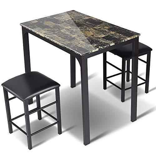 GOPLUS 3-teilige Tischgruppe, Esstisch mit 2 Stühlen, Sitzgruppe aus Holz, Essgruppe im Dunklen Holzmuster mit Industriellem Stil, Quadratische Esstisch und Stühle für Esszimmer Küche Restaurants Bars