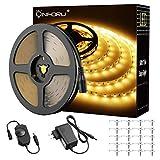 Onforu Kit 15M Dimmable LED Ruban Blanc Chaud, 3000K, Bande LED 12V Réglable via...