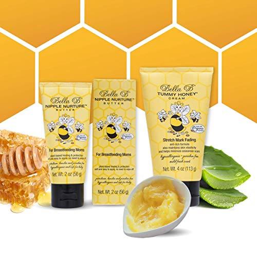 BELLA B Bundle Nipple Nurture Butter 2 oz & Tummy Honey Cream 4 oz - Organic Nipple Cream for Breastfeeding - Organic Nipple Butter - Breastfeeding Cream - Stretch Mark Prevention Cream