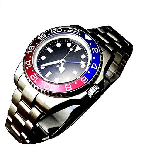 Reloj automático Tickwatch Bliger 40 mm GMT estilo rojo y azul con bisel de cerámica y cristal de zafiro