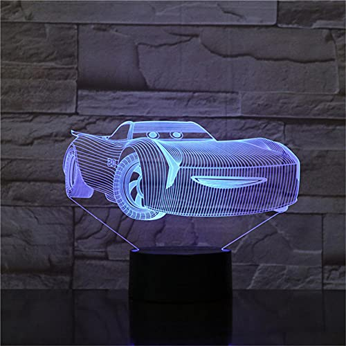 Luz de Noche 3D Cars Lightning McQueen Lámpara de Noche Para Niños Lámpara de Mesa de Acrílico con Cambio de Color Regalos,Juguete Navideño Para Niños Dropship Luces Nocturnas