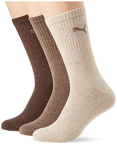PUMA Unisex-Adult 7312 Sport (3 Pack) Socks, Light Brown Melange, 39/42
