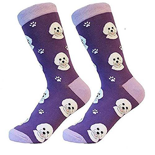 Bichon Frise Socks -200 Needle Count-Cotton Socks- Life Like Detail of...