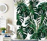 LB Duschvorhang Tropisch Grün Monstera Blätter Wasserdicht Anti Schimmel Extra Lang Weiß Polyester Badezimmer Gardinen mit 12 Haken,180x200cm