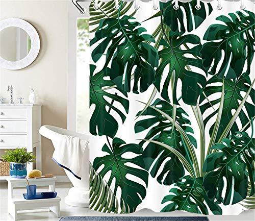 LB Duschvorhang Tropisch Grün Monstera Blätter Wasserdicht Anti Schimmel Extra Lang Weiß Polyester Badezimmer Vorhänge mit 12 Haken,180x200cm
