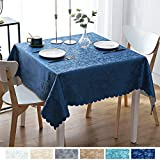 smiry Waterproof Vinyl Tablecloth, Square Heavy Duty Table Cloth, Wipeable Table Cover for Kitchen and Dining Room (Navy Blue, 54' X 54')