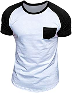 haoricu Men's Casual Slim Fit Top Short Sleeve Pocket T-Shirts Cotton V Neck Athletic Workout Shirt Tees