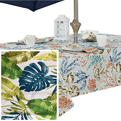 Andros Tropical Leaves Summer and Spring Indoor/Outdoor Soil Resistant and Water Repellent Fabric Tablecloth - Patio, Picnic, BBQ, Dining Room, 60 X 84 Oblong Zippered Umbrella Hole Tablecloth