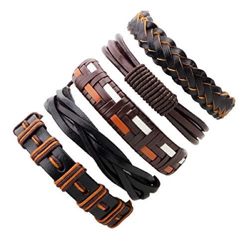 PQGHJ Einfaches Retro-Anzug-Armband 5-teiliges Set Lederarmbänder, Ledermode-Herrenarmband