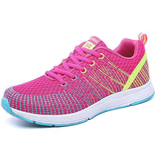 PAMRAY Damen Fitness Laufschuhe Sportschuhe Schnuren Running Sneaker Netz Gym Schuhe Rosa-Gelb 39