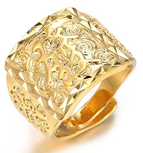 Halukakah ● l'or Bénissent Tous ● Le Bague de l'homme en 18K Or Véritable Doré Rich Taille Réglable avec Le Boîte-Cadeau Gratuit