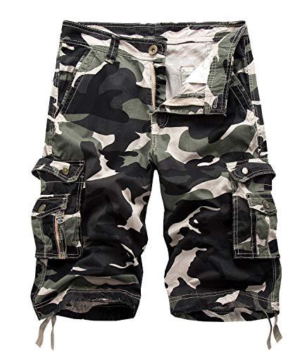 Yidarton Bermuda Short Hommes Cargo Ete Outdoor Multipoches Casual Couleur Unie/Camo Pantacourt (sans Ceinture) (Style2-Camouflage Vert armée légère, S)