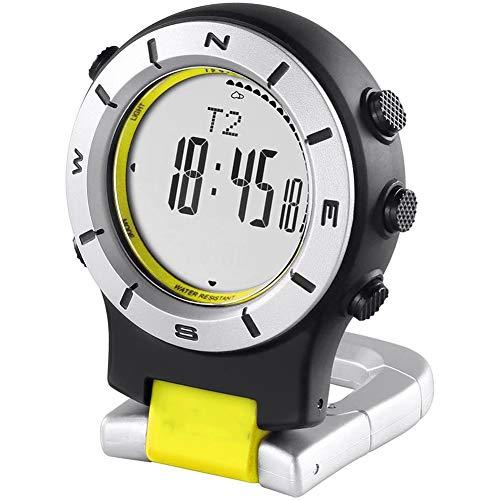 Cestbon Inteligente del Reloj del barómetro del altímetro del compás LED Clip de Bolsillo Reloj Relojes Deportivos Pesca Senderismo Escalada,Negro