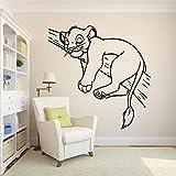 wZUN León Pared calcomanía niños Dormitorio guardería decoración León de Dibujos Animados Lindo Animal Vinilo Pared Pegatina 57X57cm
