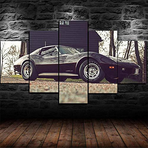 XHYUE 5 Piezas Cuadro sobre Lienzo Imagen Coche Chevrolet Corvette Stingray C3 Impresión Pinturas Murales Decor Dibujo con Marco Fotografía 39.5x21.7 Inch(WxH)