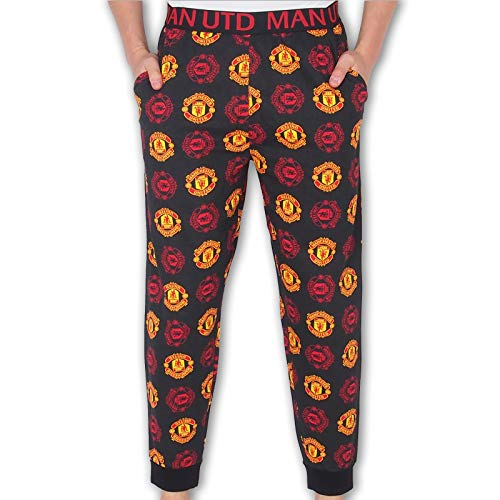Manchester United FC Official Mens Lounge Pants Pyjama Bottoms Black Small