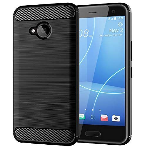 HTC U11 Life Case, Slim Thin Soft Skin Silicone Flexible Soft TPU Carbon Fiber Pattern Shock Absorption Technology Raised Bezels Anti-Scratches Protective Cases Cover for HTC U11 Life (Black)