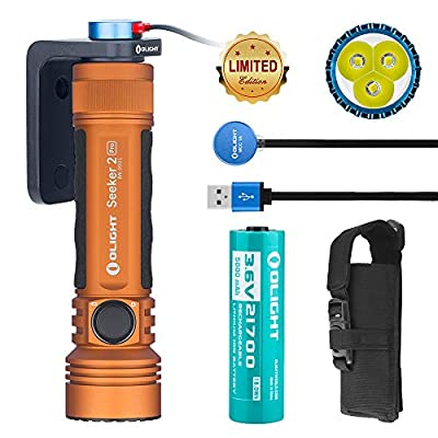 OLIGHT Seeker 2 Pro 3200 Lumens Three Cree XP-L HD CW LED Side Switch Rechargeable Tactical Flashlight Law Enforcement Searchlight with Charging Dock Patch