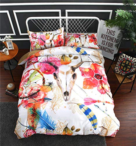 Duvet Cover Super King Size Sheep head dream catcher Bohemian style Bedding 3-piece set, 1 Microfiber 135 x 200cm Quilt Cover and 2 Pillowcases 50 x 90 cm with Zipper Closure printing Duvet Cover set