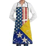 Delantal con Bolsillos y Bolsillos EE. UU. Y Bosnia y Herzegovina Bandera Retro Cocina Chef Bib