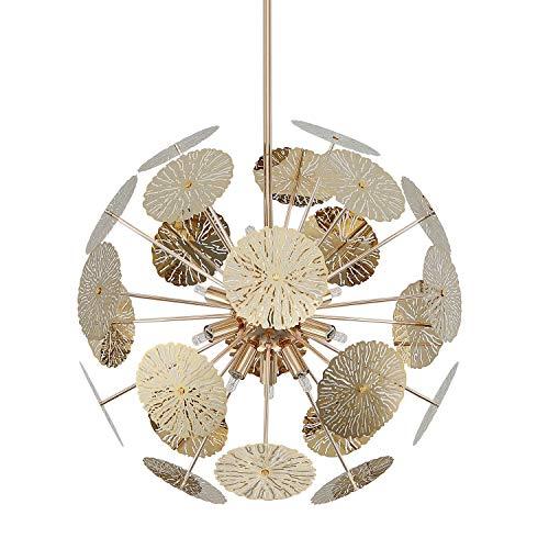 Fivess Lighting 12-Light Modern Sputnik Chandelier Gold with Bulbs, Adjustable Rods Globe Pendant Lighting Fixture for Dining Room Kitchen Island Foyer Farmhouse