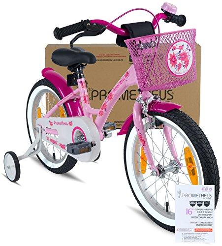 Prometheus vélo pour filles 16 pouces en rose et violet à partir de 5 ans avec stabilisateurs et rétropédalage - vélo enfant 16 pouces Classic Edition 2019