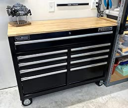 46 In. 9-Drawer Mobile Storage Cabinet With Solid Wood Top - Black Workbench