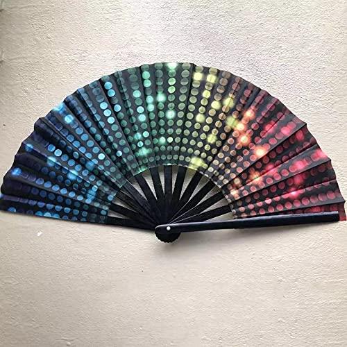 Behoneybee Large Folding Hand Rave Fan for Women/Men, Chinease/Japanese Bamboo and Nylon-Cloth Folding Hand Fan, Hand Fan Festival Fan Gift Fan Craft Fan Folding Fan Dance Fan (DJ Light)