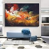KWzEQ Imprimir en Lienzo Hombre en la Nave Espacial Exterior pósters y Fotos decoración de Pared decoración para Sala de arte30x45cmPintura sin Marco