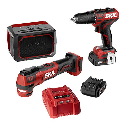 """SKIL 3-Tool Combo Kit: Pwrcore 12 Brushless 12V 1/2"""" Cordless Drill Driver, Oscillating Multitool & Bluetooth Speaker, Includes Two 2.0Ah Lithium Batteries & Standard Charger - CB738801"""