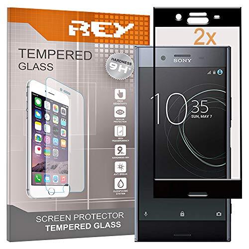 REY Pack 2X Panzerglas Schutzfolie für Sony Xperia XZ, Schwarz, Bildschirmschutzfolie 9H+, Polycarbonat, Festigkeit, Anti-Kratzen, Anti-Öl, Anti-Bläschen, 3D / 4D / 5D
