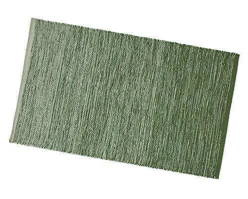 ARREDIAMOINSIEME-nelweb Tappeto Bagno Cucina Camera 100% Cotone Multiuso Assorbente Indiano Lavabile Lavatrice MOD.Zenzero 55x240 Verde (D)
