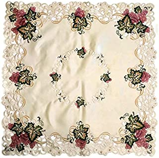 Doily Boutique Tablecloth or Table Topper Square Embroidered with Red Purple Grapes on Ivory Fabric, Size 34 inches