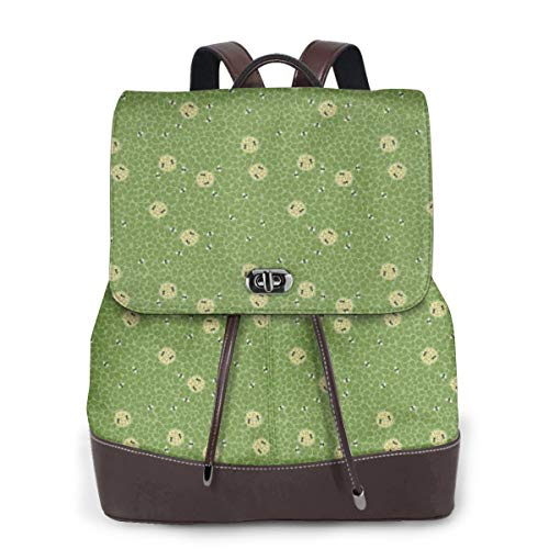 Womens Travel Backpack Busy Bees Genuine Leather Bags Purse