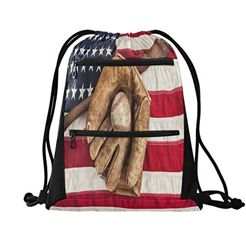 No/Brand RXYY Bandera Americana Bate de Béisbol con Cordón Bolsa de Gimnasio...