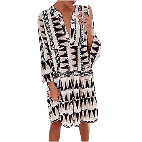 Masrin Damen Minikleid Lässiges knielanges Kleid mit Leoparden-Print Herbst langärmliges kurzes Kleid Gerüschtes Patchwork-Plisseekleid...