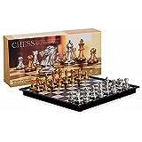 SENZHILINLIGHT Juego de ajedrez de oro y plata con juego de ajedrez magnético con tablero de ajedrez plegable para adultos y niños