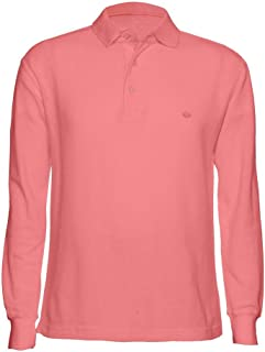 AKA Men's Solid Polo Shirt Classic Fit - Pique Chambray Collar Comfortable Quality