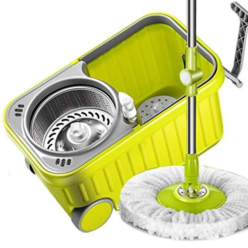 Y&XF Spin Bucket System Mop con Mango extendido 4 Cabezas de Microfibra Rotación 360 ° Easy Floor Mop