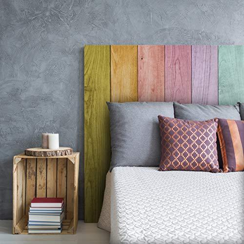 MEGADECOR Cabecero Cama PVC Decorativo Económico Madera Tablas Arcoiris Multicolor Varias Medidas (150 cm x 60 cm)