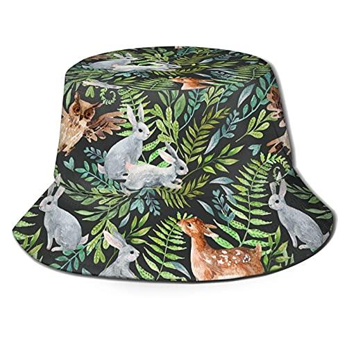 Sombrero de cubo de moda, acuarela bebé ciervo búho pequeños conejos sombrero de sol lindo al aire libre plegable sombrero de pescador de ala ancha