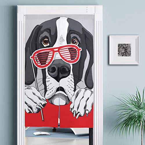 JISMUCI Vorhänge für Türen,Deutsche Dogge Dog Red Grill Gläser,Türvorhang Für die Küche Wohnzimmer Schlafzimmer