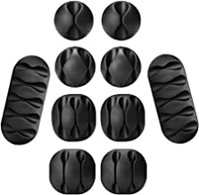 Haobase 10 Pack Multipurpose Black Cable Clips Cord Management System, for Organizing Cable Cords Home and Office, Self Ad...