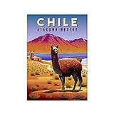 XNHXPH Cartel de Viaje de Chile, Pintura de Lienzo de Paisaje Minimalista, Arte de Pared Moderno, Im...