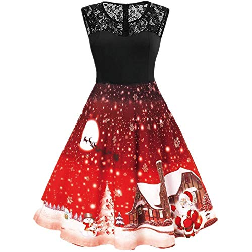 Gloneld Women Chrismtas Dress Sleeveless Lace Splice Sexy Vintage Cocktail Dress Holiday Swing Evening Party Flare Dress Red