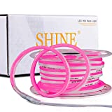 Shine Decor 50FT Pink LED Neon Rope Lights, ETL-Listed AC110V-120V Dimmable LED Rope Lights Outdoor IP65 Waterproof, Flexible Cuttable Neon LED Strip Light for Indoor Outdoor DIY Decoration(7x14.5mm)
